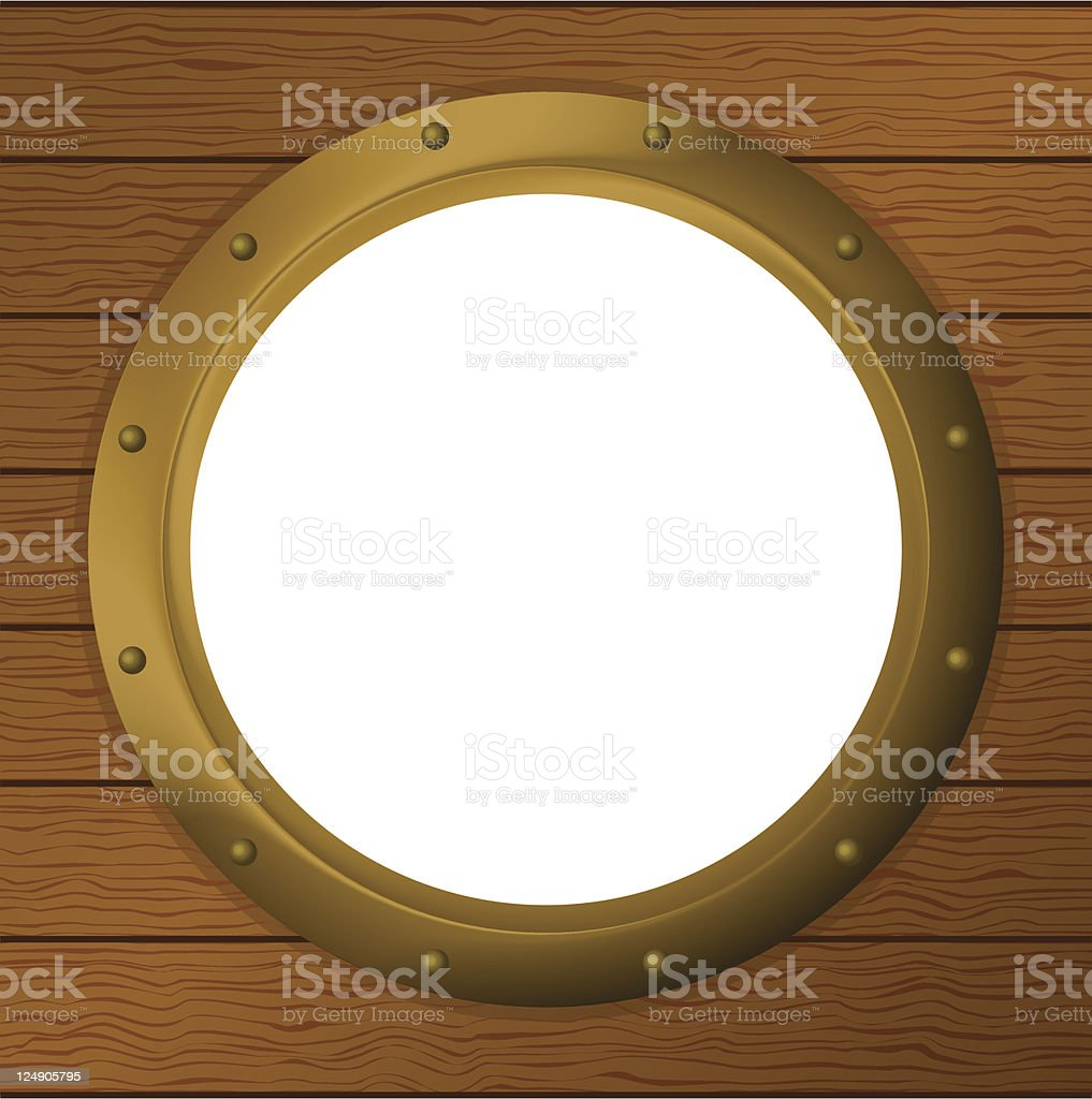 Window porthole in a wooden wall royalty-free stock vector art