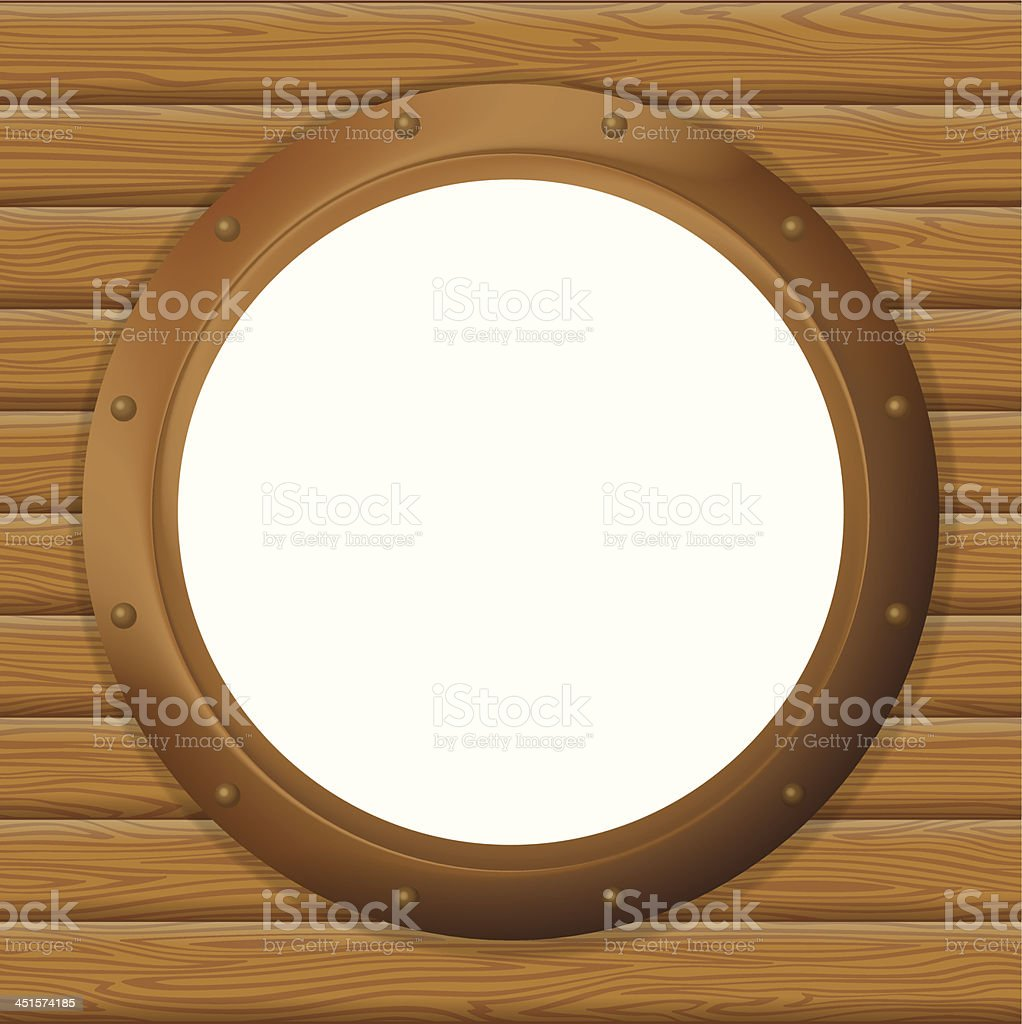 Window porthole in a wooden wall royalty-free window porthole in a wooden wall stock vector art & more images of abstract
