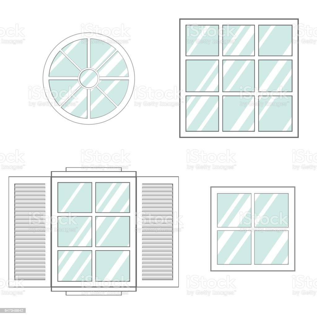 window set round square wall exterior house building architecture vector id947348842