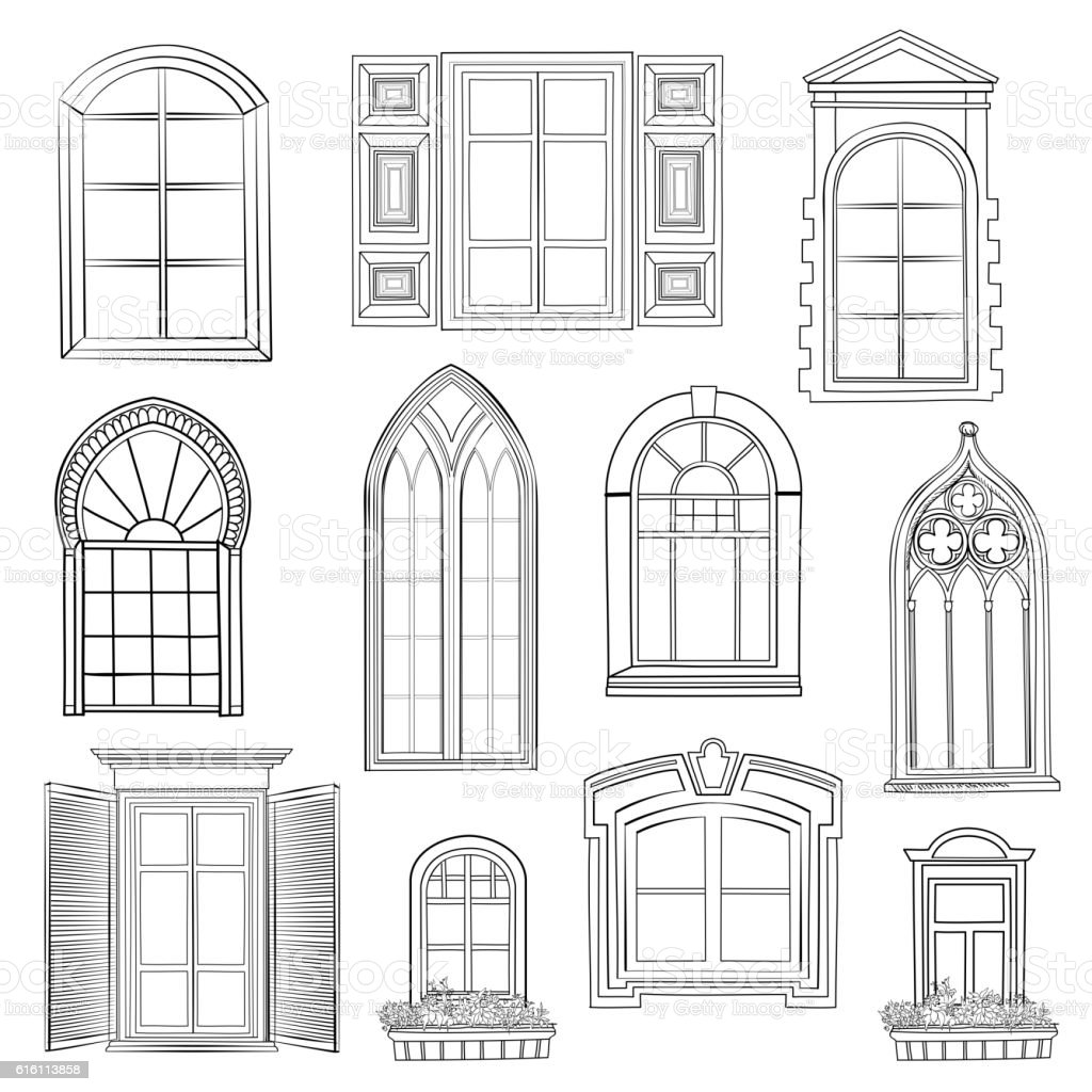Window set. vector art illustration