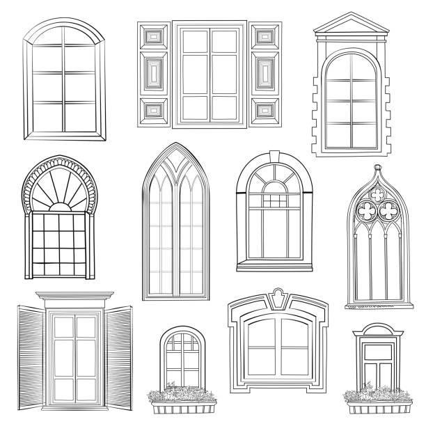 stockillustraties, clipart, cartoons en iconen met window set. - boog architectonisch element