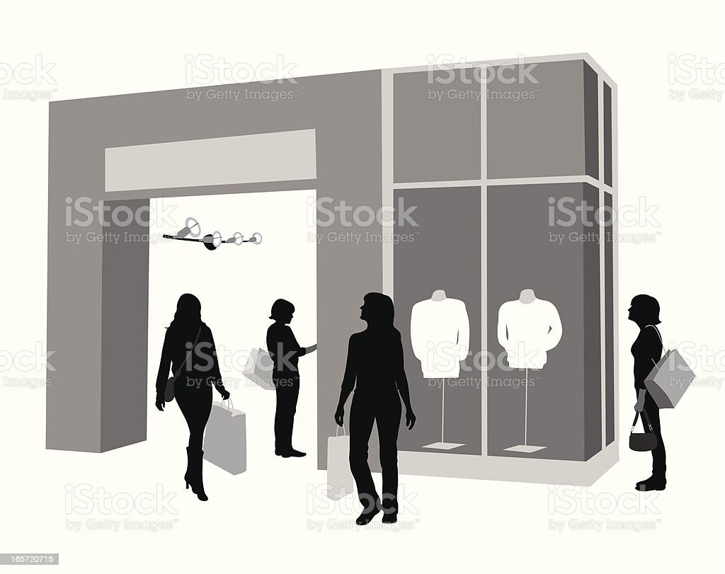 Window Shopping Vector Silhouette royalty-free stock vector art