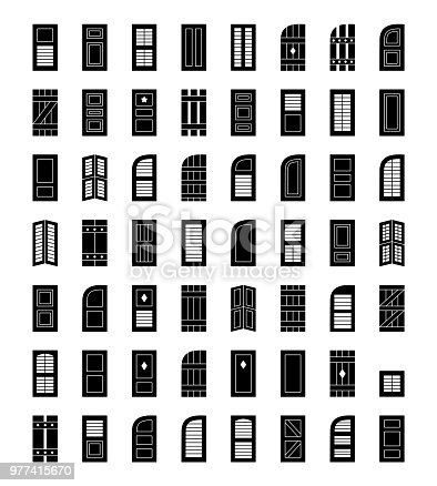 Shutters. Plantation, panel, tier on tier, colonial & louvered window coverings. Decorative exterior blinds. Board & batten shades. Front view. Flat icon collection.