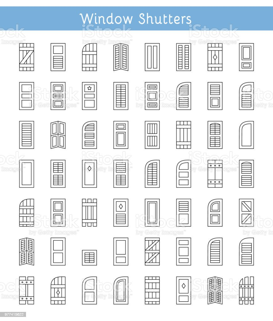 Window Shutters Decorative Exterior Shades Line Icon