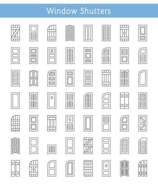 ilustrações de stock, clip art, desenhos animados e ícones de window shutters. decorative exterior shades. line icon collection. - com portada