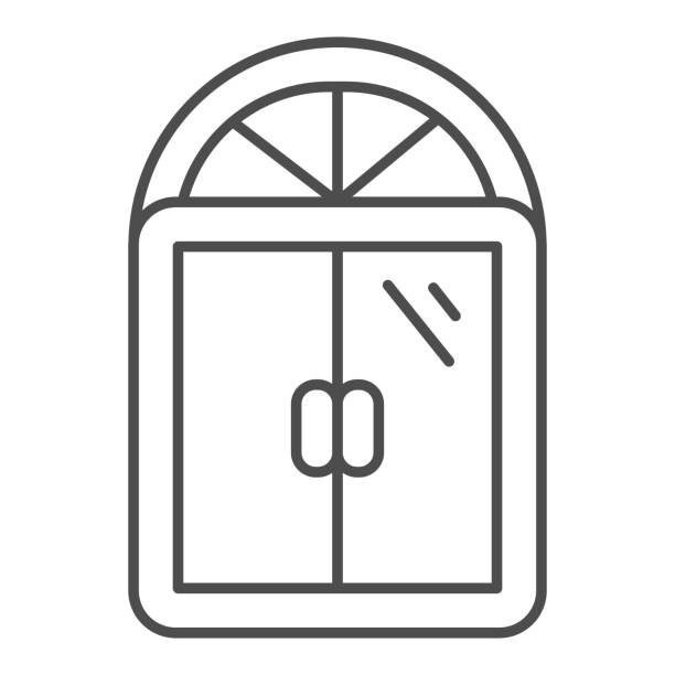 Window thin line icon, Furniture concept, Window frame sign on white background, Semicircular antique window icon in outline style for mobile concept and web design. Vector graphics. Window thin line icon, Furniture concept, Window frame sign on white background, Semicircular antique window icon in outline style for mobile concept and web design. Vector graphics architecture borders stock illustrations