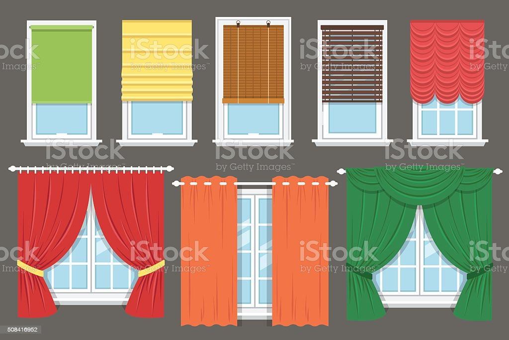Window treatment vector art illustration