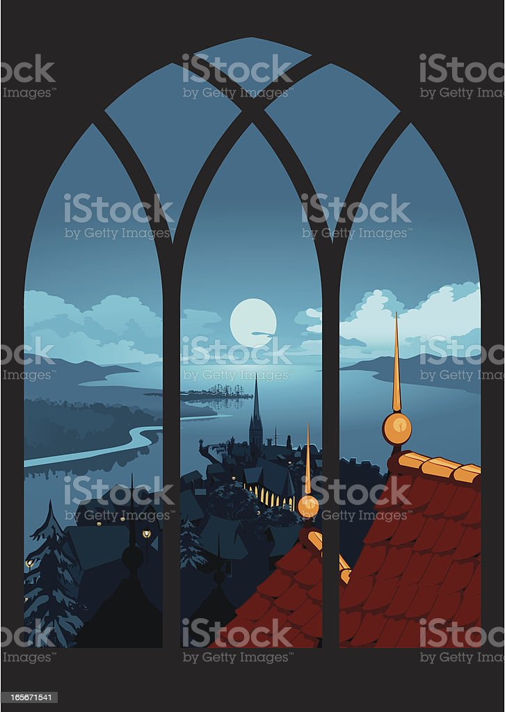 Window View by Night royalty-free stock vector art