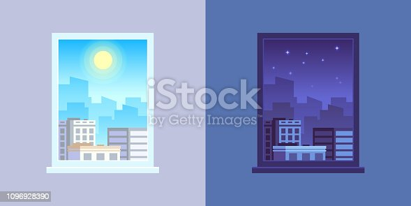 istock Window view. Day and night cartoon vector concept 1096928390