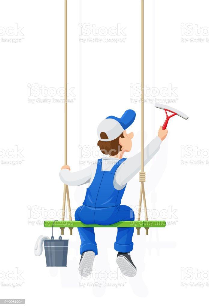Laveur De Vitres Service De Nettoyage Personnage De Dessin