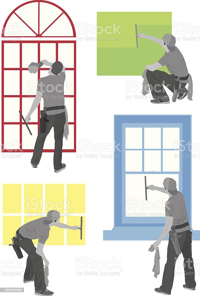 Window Washer royalty-free stock vector art