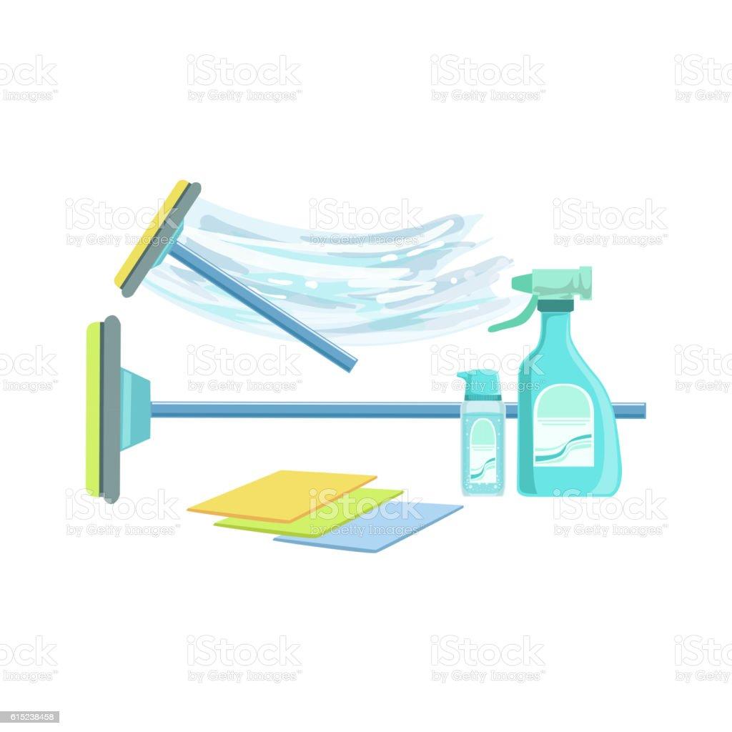 Window Washing Household Equipment Set vector art illustration