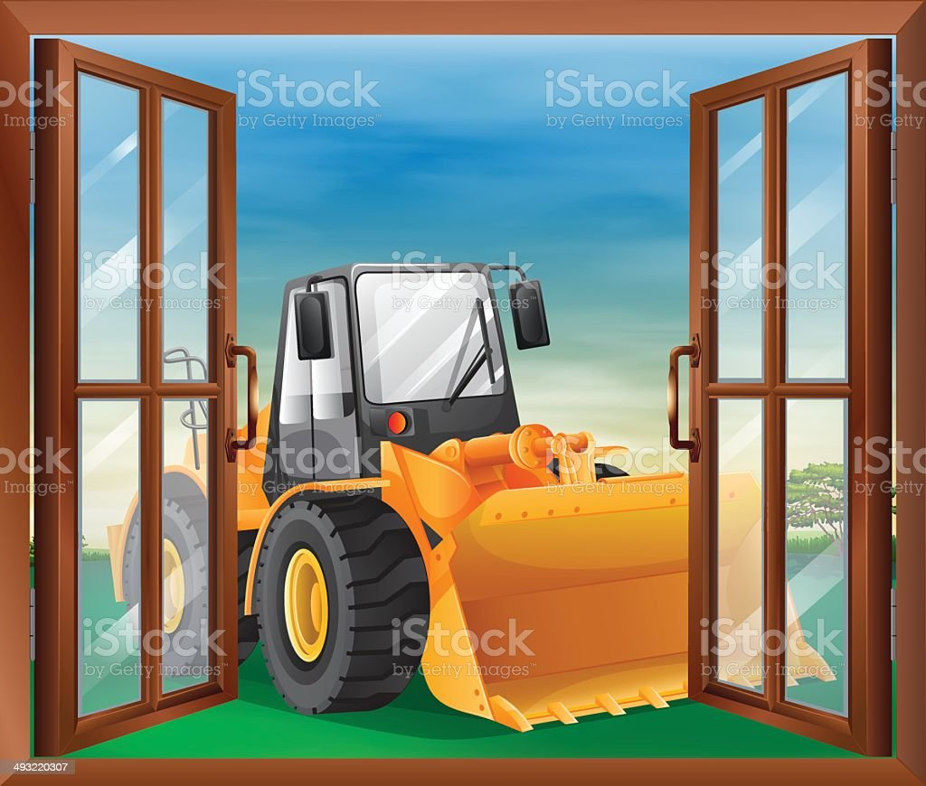 Window with a bulldozer vector art illustration