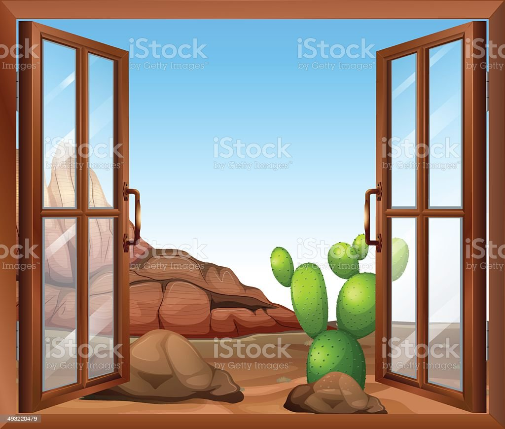 Window with a cactus vector art illustration