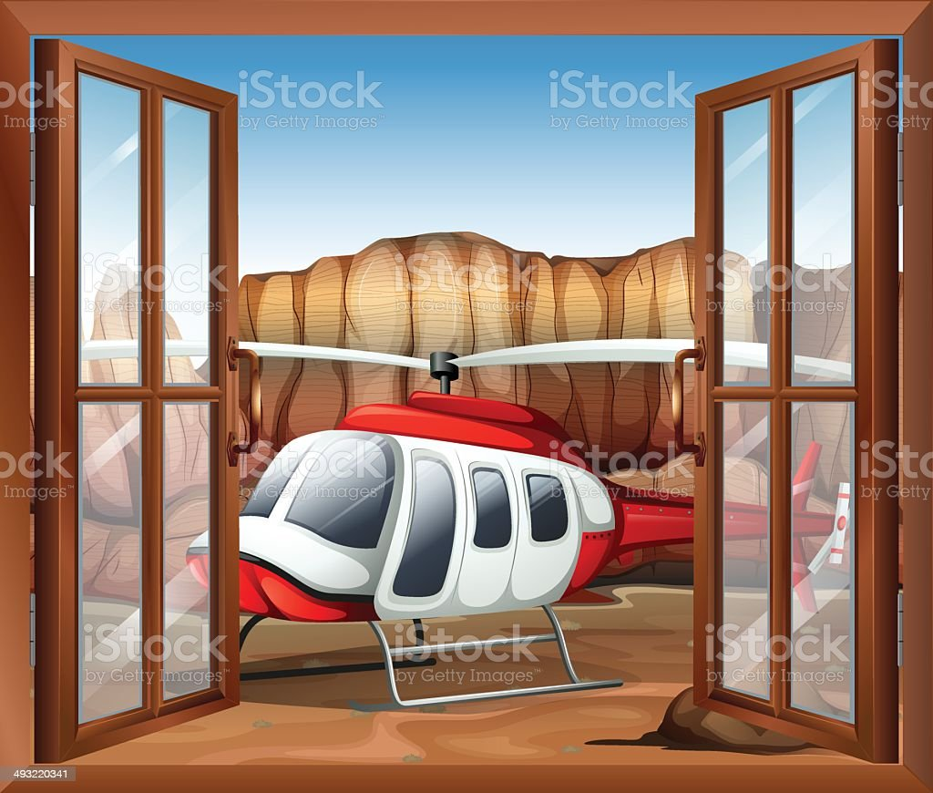 Window with a chopper outside vector art illustration