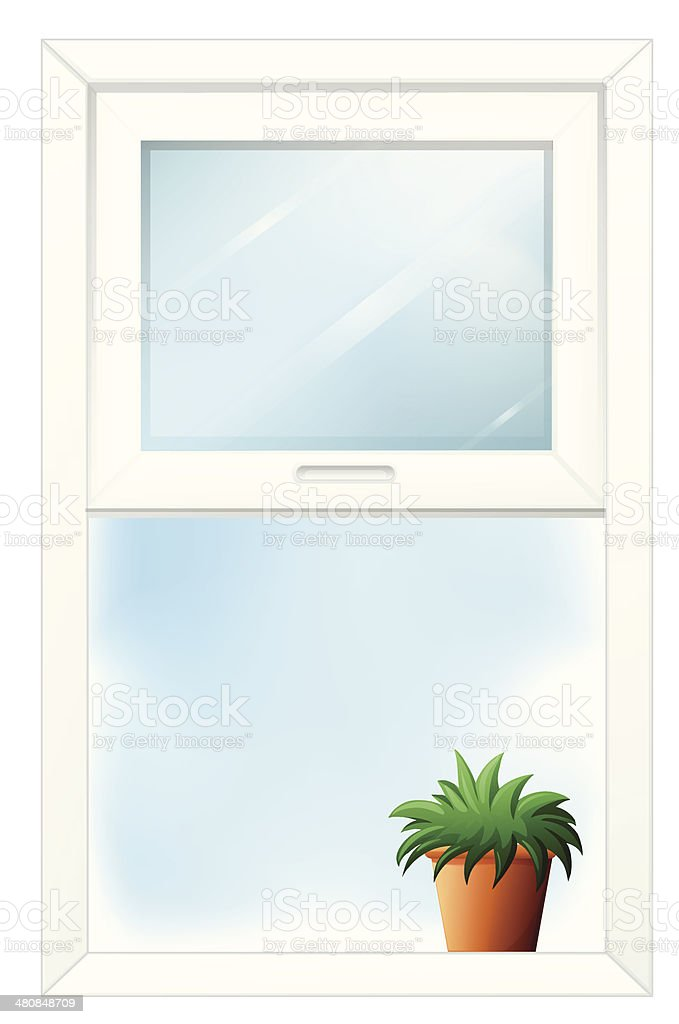Window with a plant at the bottom royalty-free stock vector art