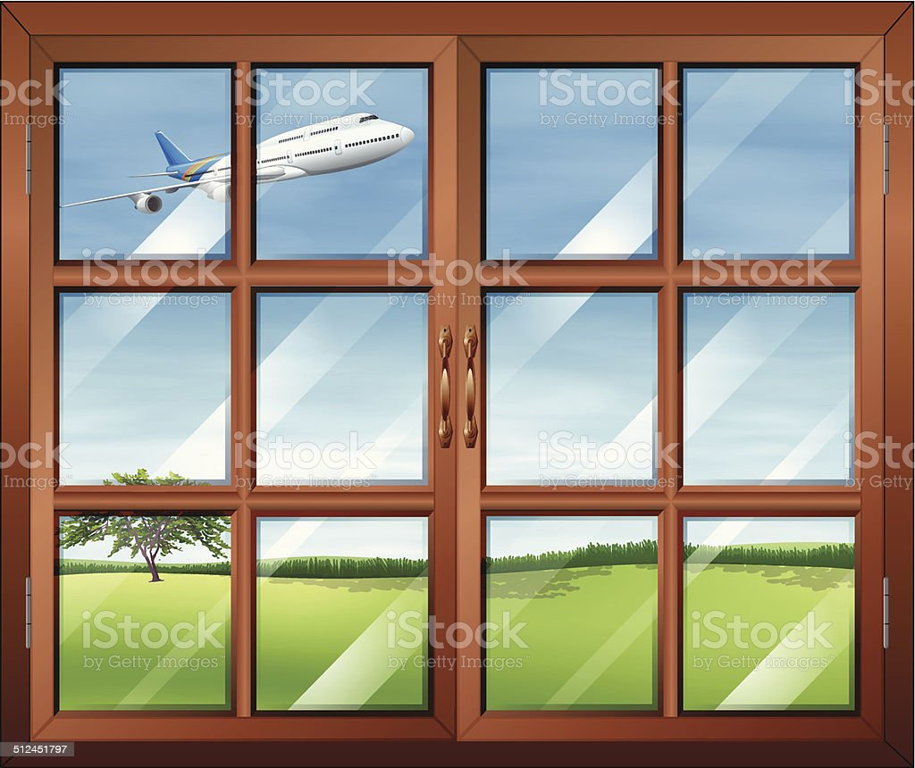 Window with a view of the airplane in the sky vector art illustration