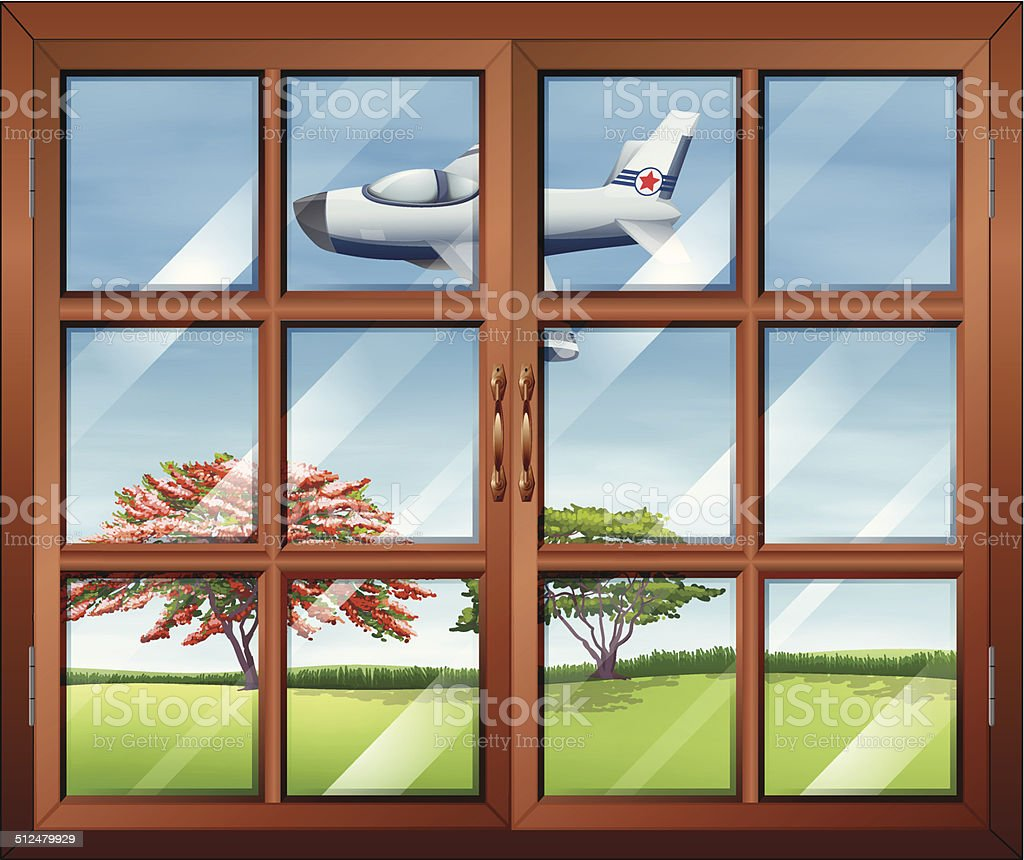 Window with a view of the airplane outside vector art illustration