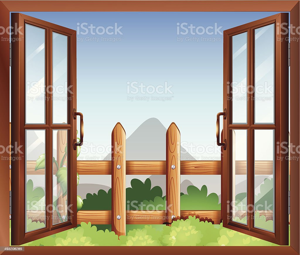 Window with a view of the backyard vector art illustration