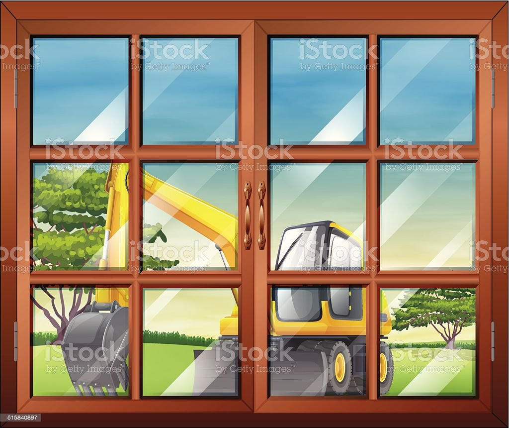 Window with a view of the bulldozer outside vector art illustration