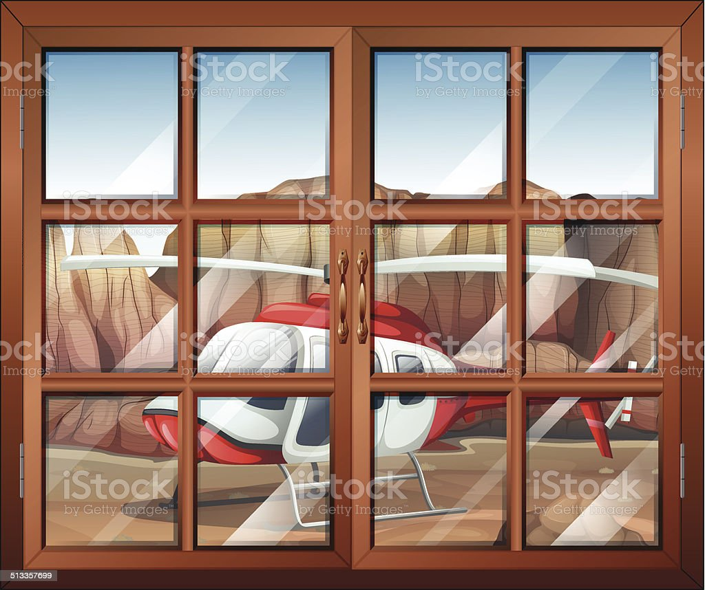 Window with a view of the chopper outside vector art illustration