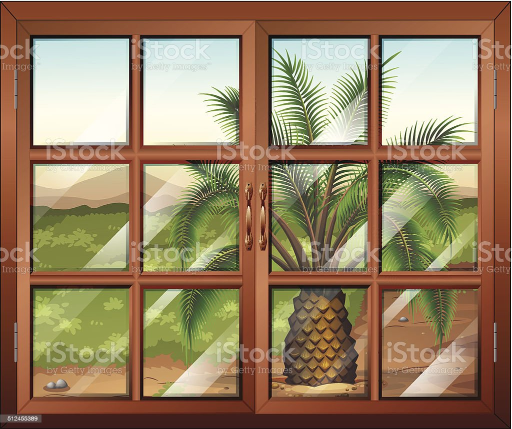 Window with a view of the palm plant outdoor vector art illustration