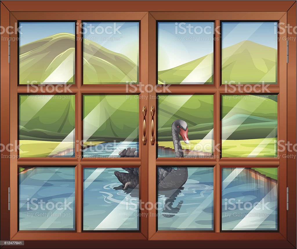 Window with a view of the river outside vector art illustration