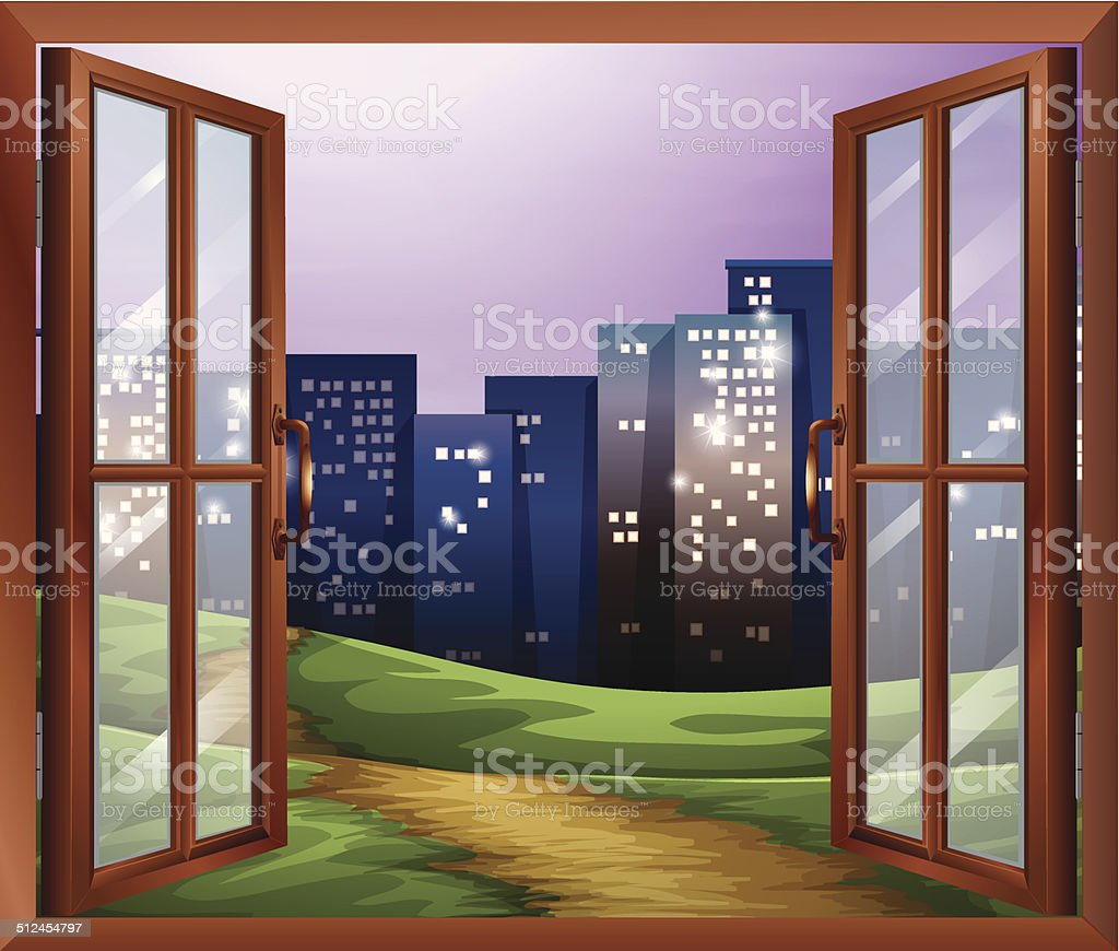 Window with a view of the tall buildings vector art illustration