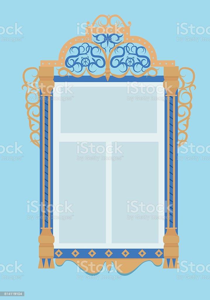 Fenster Mit Türzargen Typische Russische Kultur Stock Vektor Art und ...