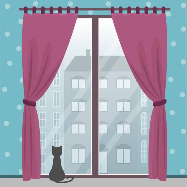 ilustrações de stock, clip art, desenhos animados e ícones de window with city view in a cozy room with a cat. vector flat illustration. - obras em casa janelas