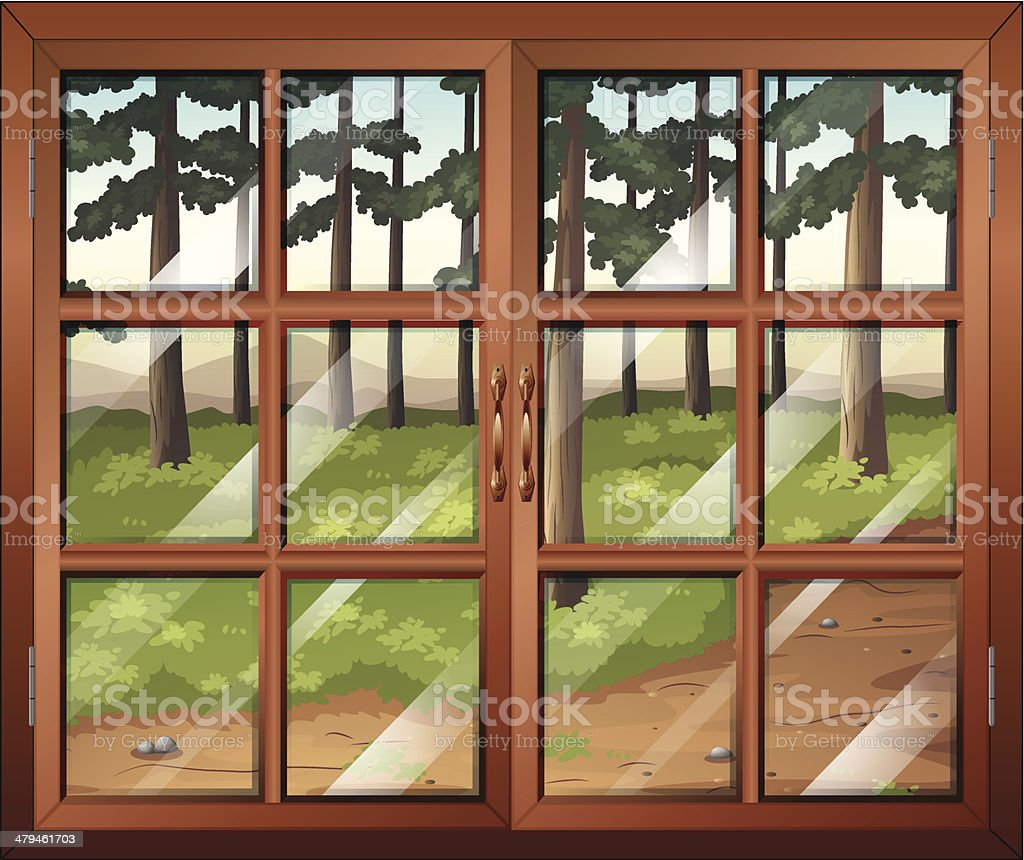 Window with clear glasspanes royalty-free stock vector art