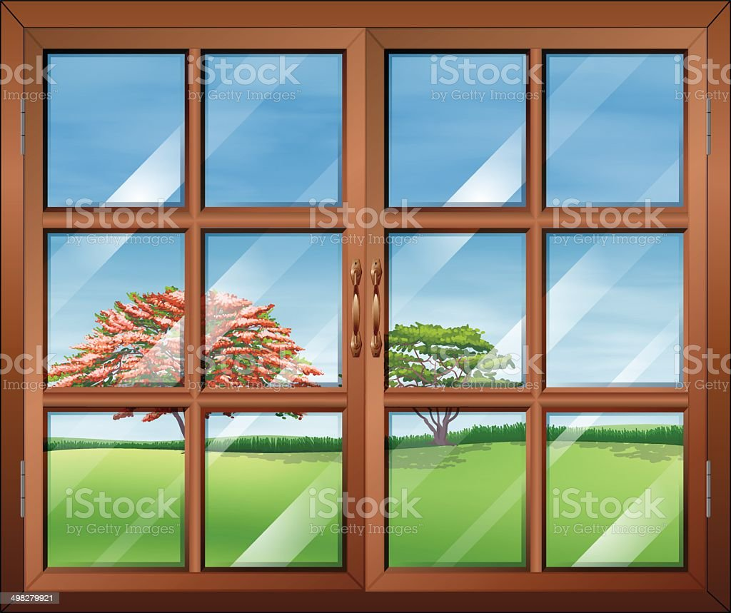 Window with clear glasspanes vector art illustration