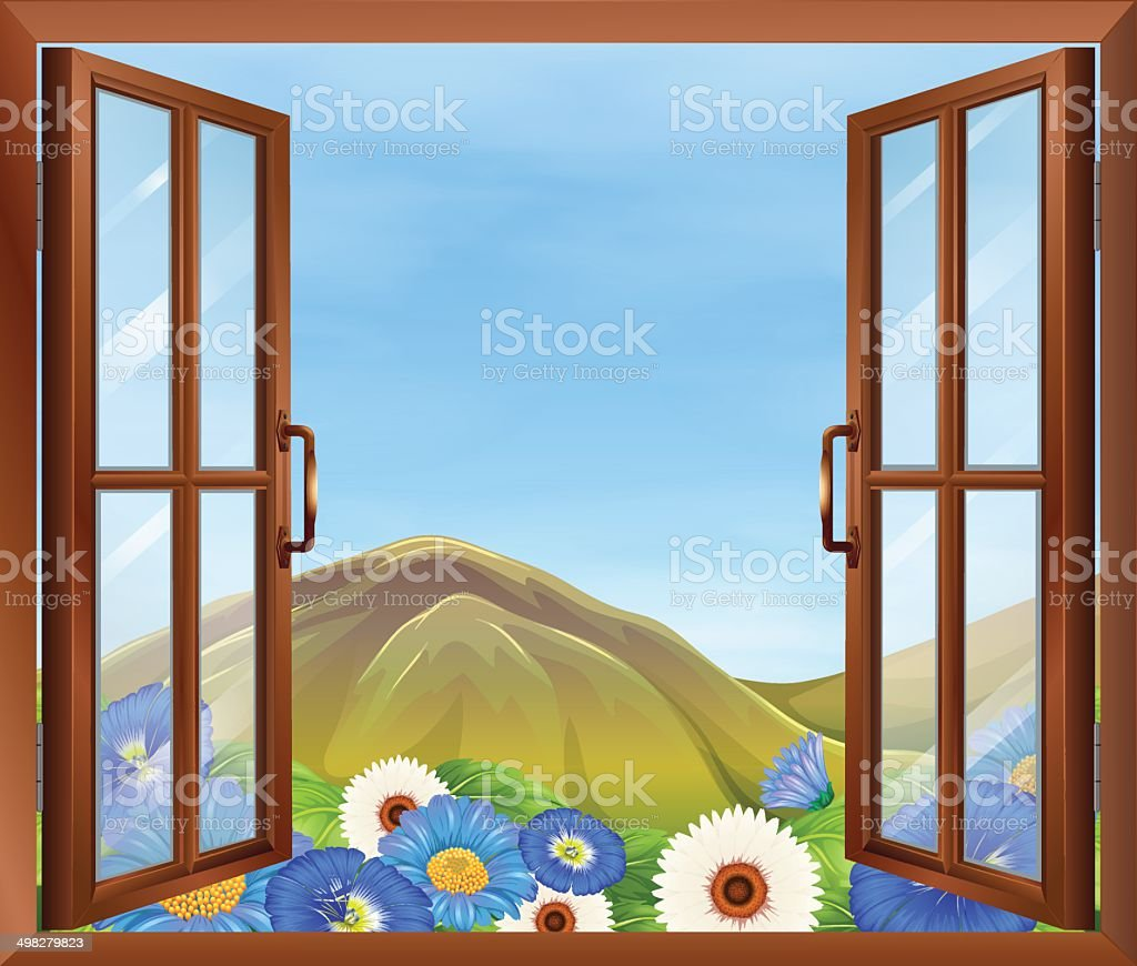 Window with flowers outside vector art illustration