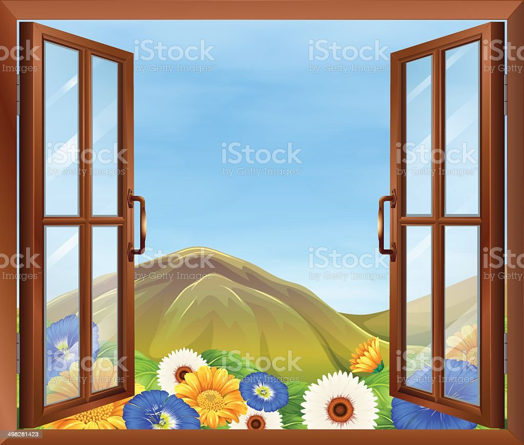 Window with fresh flowers outside vector art illustration