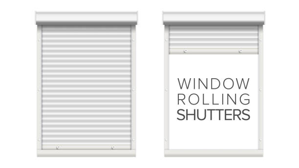 window with rolling shutters vector. opened and closed. front view. isolated on white illustration - жалюзийный тип stock illustrations