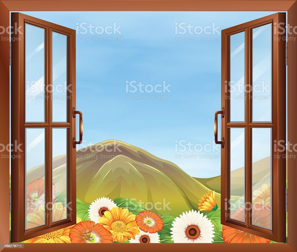 Window with  view of the blooming flowers outside and tal vector art illustration