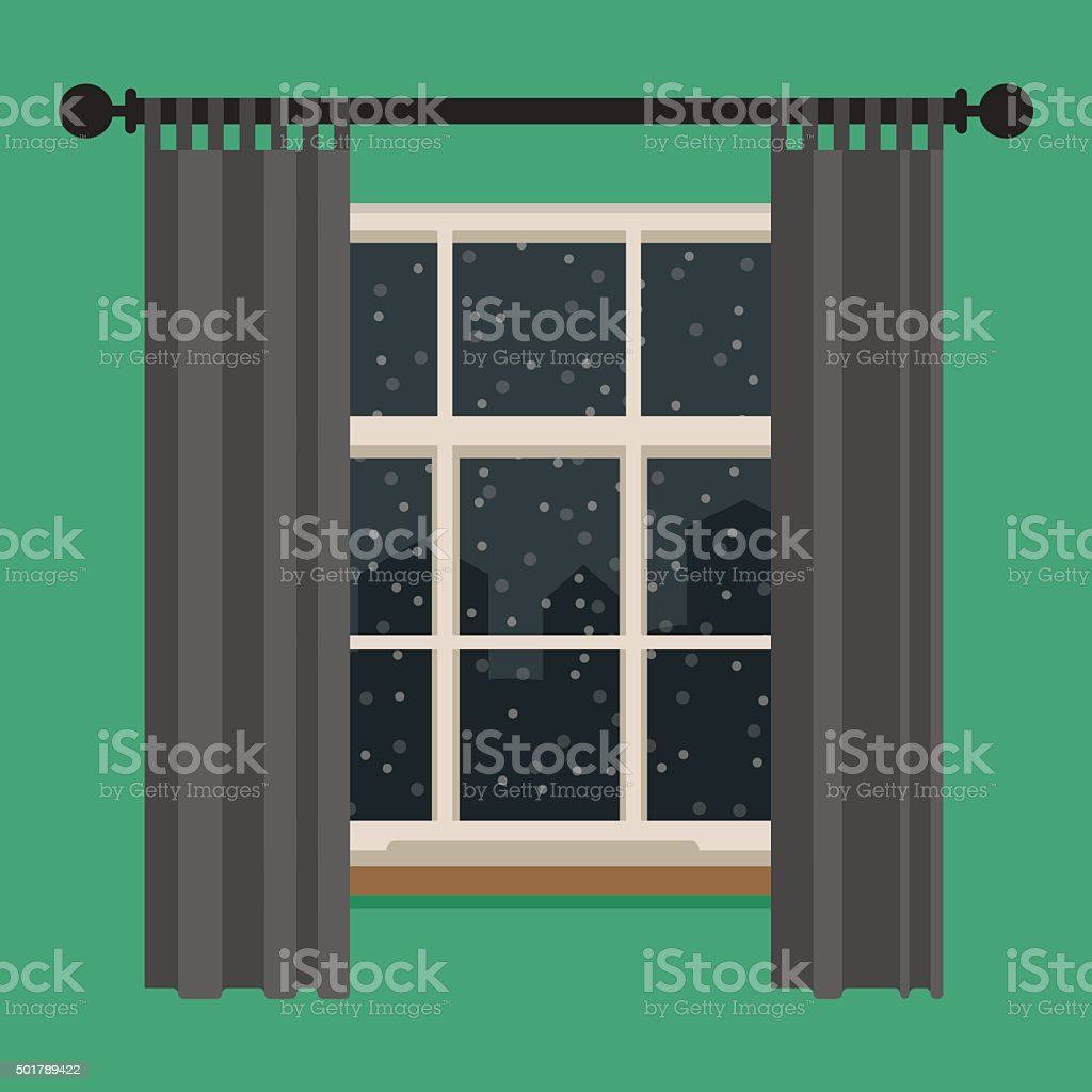 Window with view of the winter landscape. vector art illustration