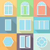Windows, a set of realistic windows with a shadow. Closed and open window. Flat design, vector illustration, vector.