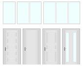 Windows and doors. A set of windows and doors. Flat design, vector illustration, vector.