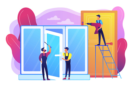 Windows and doors services concept vector illustration