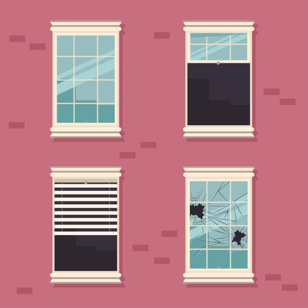stockillustraties, clipart, cartoons en iconen met windows gebroken, open, gesloten en met blinds op een bakstenen muur cartoon platte vectorillustratie. - raam