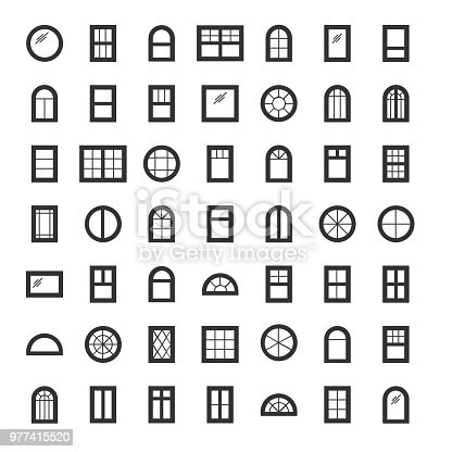 Windows. Architecture elements. Line icons isolated on white background. Traditional, arch and round window frames