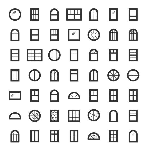 windows icon collection. set of line window contours isolated on white background. - architecture clipart stock illustrations
