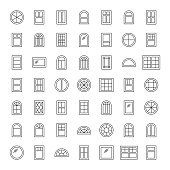 Windows icon collection. Set of thin line window contours isolated on white background.