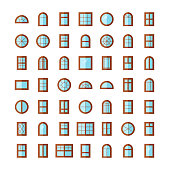 Windows icon collection. Vector illustration of flat colored pictograms.