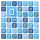 Windows icon collection. Vector illustration of flat colored pictograms with long shadows.