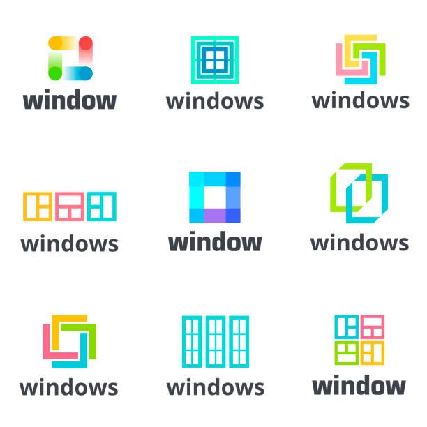 ilustrações de stock, clip art, desenhos animados e ícones de windows icon set, vector template. the business of manufacturing windows. design element. - obras em casa janelas