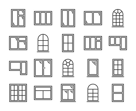 Windows icons. Windows frames line icon set. Vector illustration. Editable stroke.