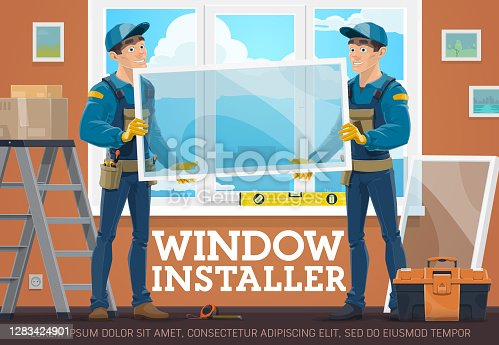 istock Windows installing service workers vector poster 1283424901