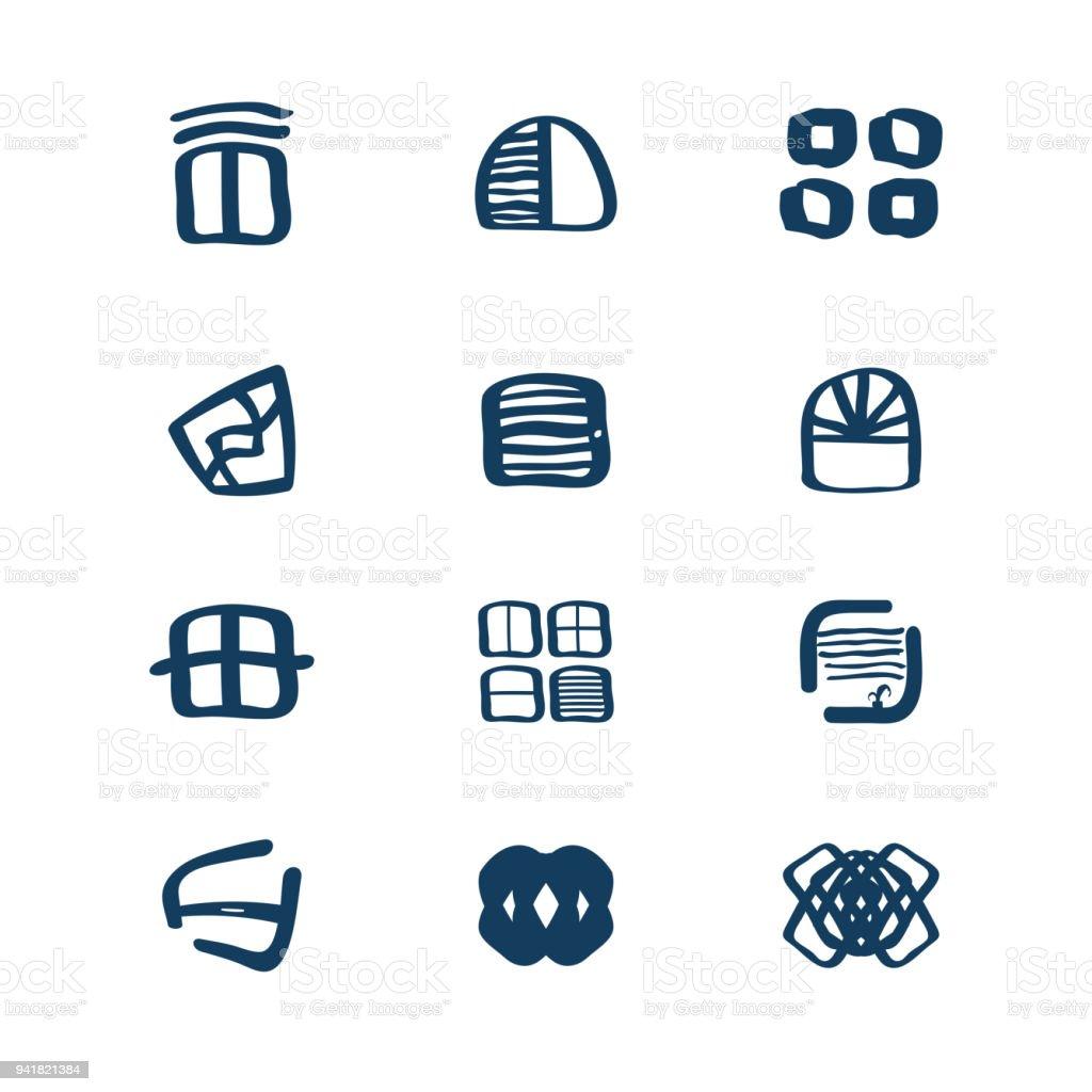 Windows Logo Set Emblem Symbol Element Vector Icons Stock